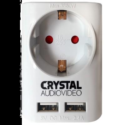 Μονόπριζο Σούκο & 2 Θύρες USB CRYSTALAUDIO(SUW-1)
