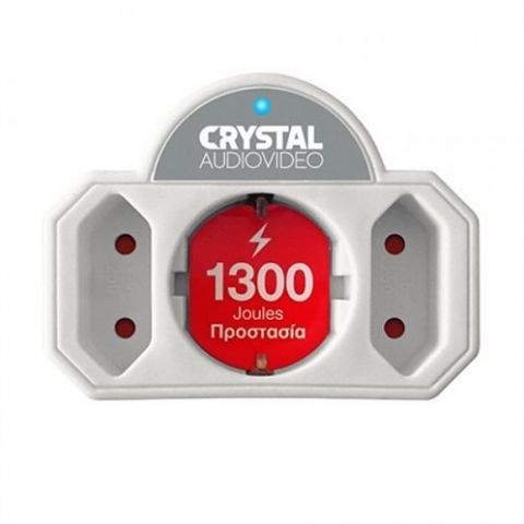 Πολύπριζο Προστασίας 3 Θέσεων Λευκό CRYSTALAUDIO(CP21-1300W)