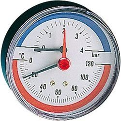 Θερμομανόμετρο 1/2΄΄ Οριζόντιο 0-6 Bar 0-120° C (789)